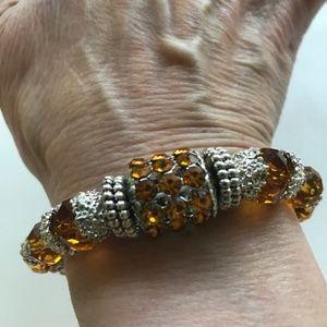 Jewelry - Topaz Swarovski Crystals Stretch Bracelet New